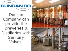 sanitary valves for breweries and distilleries
