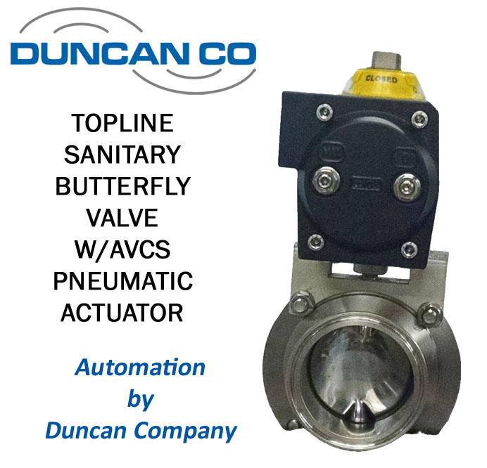 TOPLINE SANITARY BUTTERFLY VALVE FOR MORE INFORMATION CONTACT US AT WWW.DUNCANCO.COM