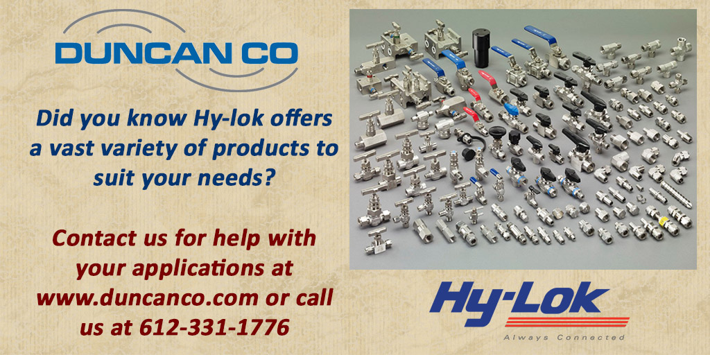 Hy-Lok for more information contact us at www.duncanco.com